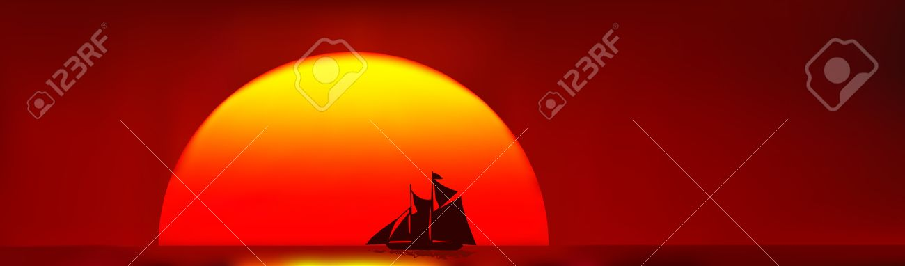 Beautiful Old Ship Sailing Home, Silhouetted Against The Sunset.