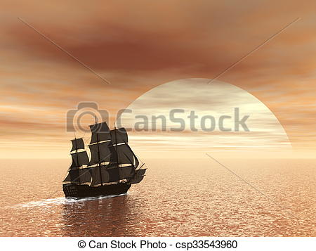 Stock Illustration of Old ship HSM Victory.