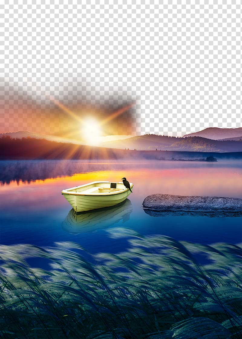 Beige boat and blue lake, Poster Advertising Sunset, Lake.