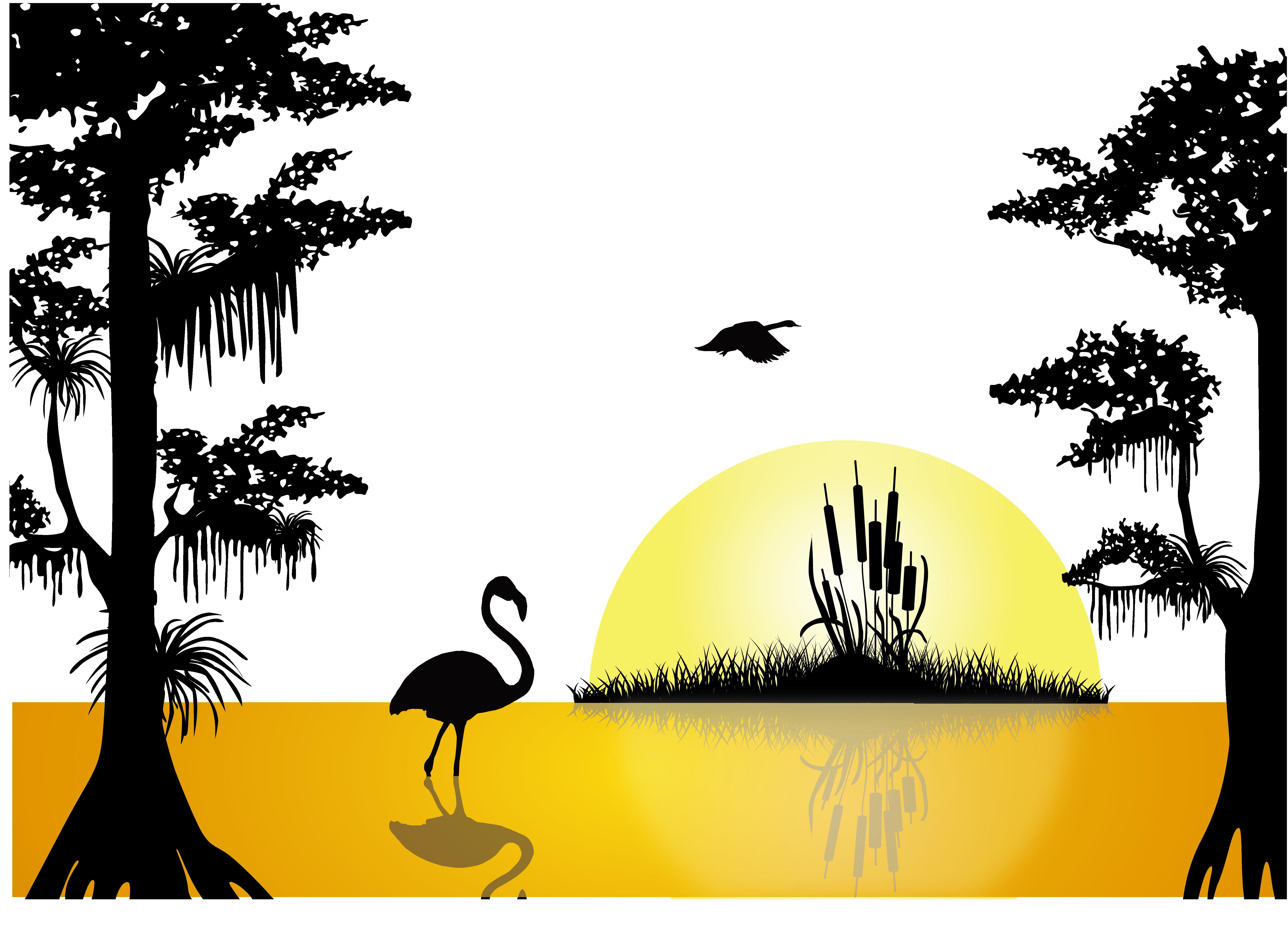 Sunset Lake Silhouette.
