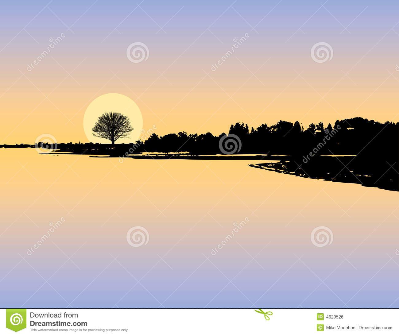 Lake Sunset Silhouette.