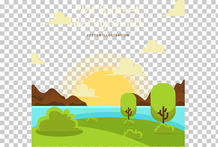 Cartoon Sunset, Sunset on the lake PNG clipart.