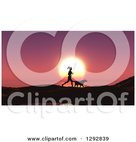 Clipart of a Silhouetted Fit Woman Jogging with Her Dog Against a.