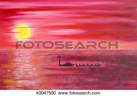 Stock Illustrations of Pink Sunset k0047500.