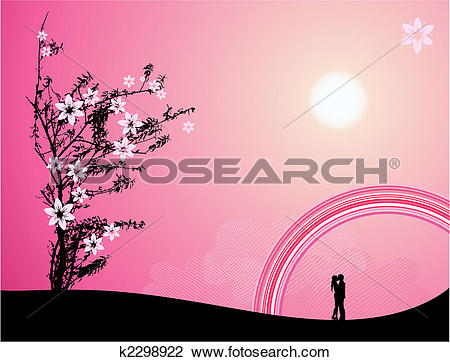 Clipart of Pink sunset, love k2298922.
