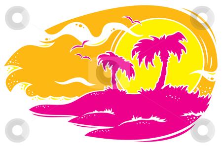 Pink Beach Sunset Clipart.
