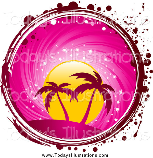 Clipart of a Circle of Palm Trees, a Pink Sunset, with Red and.