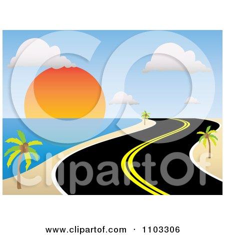 Clipart Curvy Coastal Road Along A Tropical Beach At Sunset.