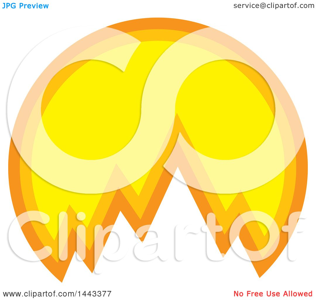Clipart of a Sunset and Mountain Logo Design.