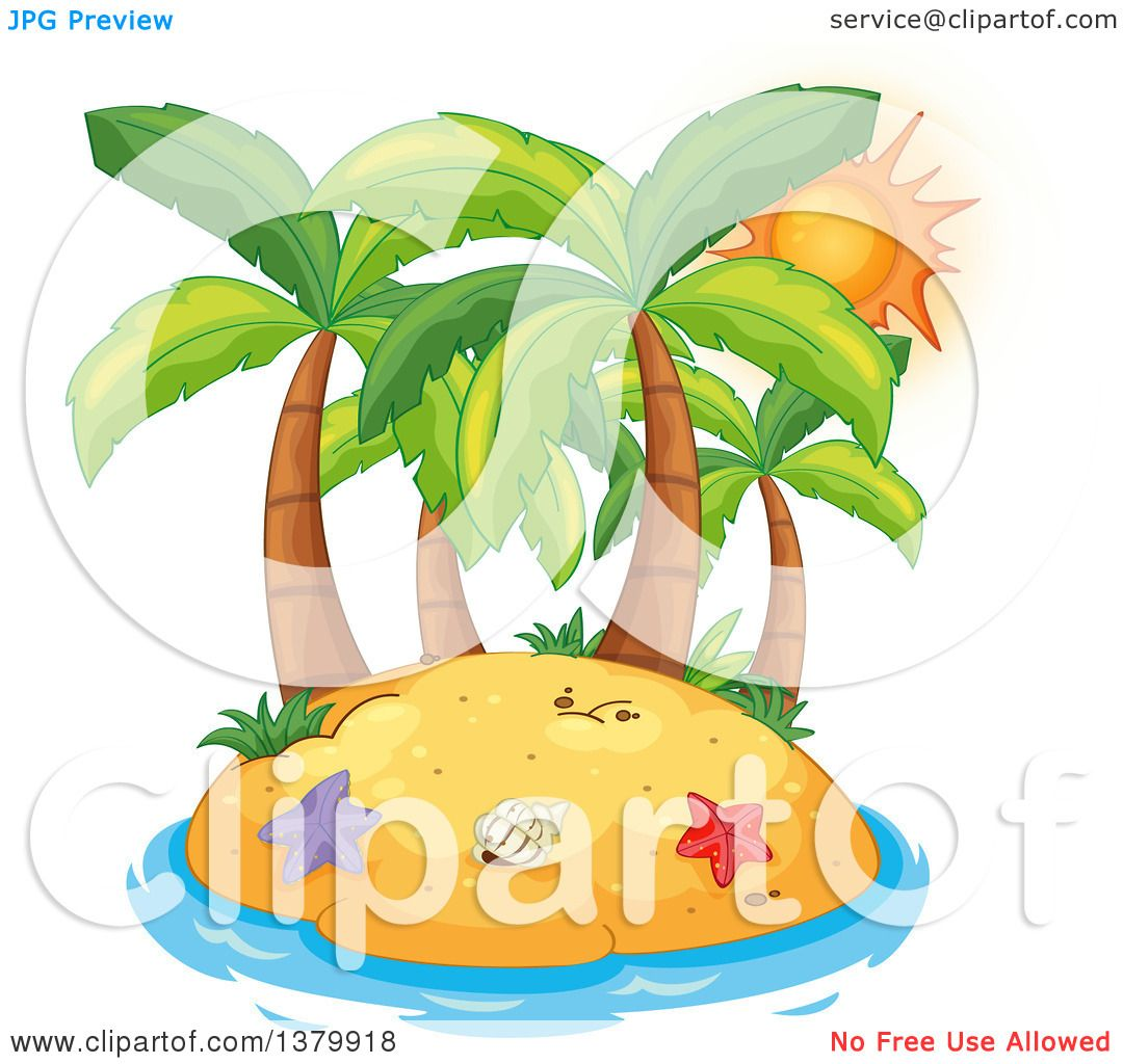 Clipart of a Sunset Sun Behind Palm Trees on a Tropical Island.
