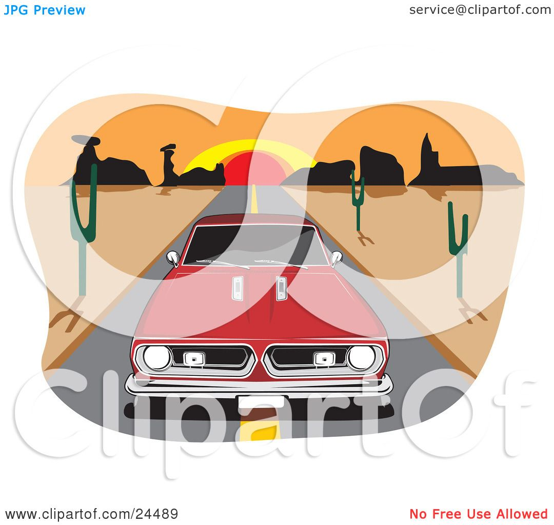 Clipart Illustration of a Red 1970 Barracuda Muscle Car Driving In.