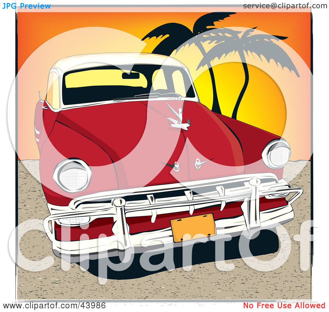 Clipart Illustration of a Vintage Red Automobile Parked On A Cuban.