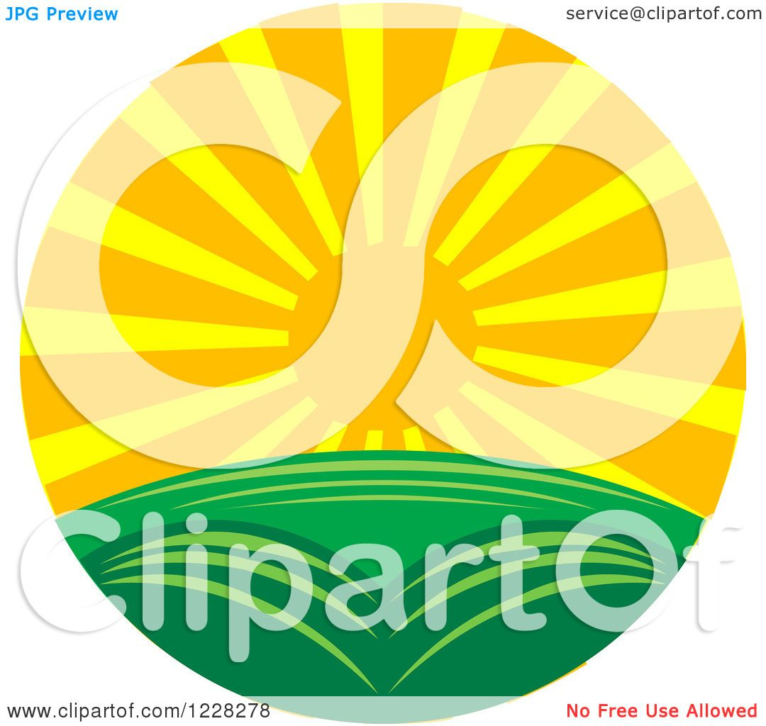 Clipart of a Summer Sunset over a Green Landscape.