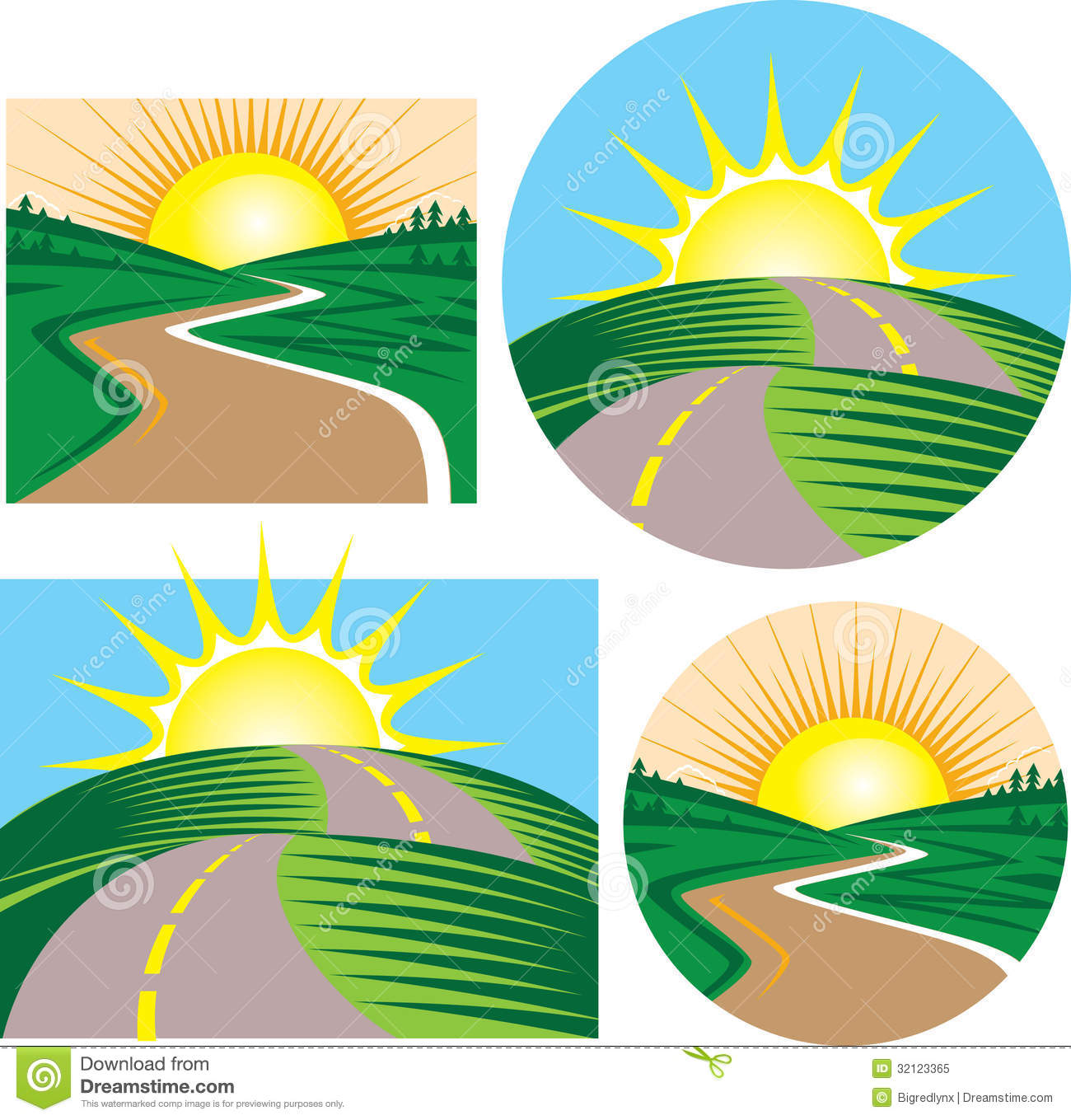 Sunset Road Clipart With No Watermark.