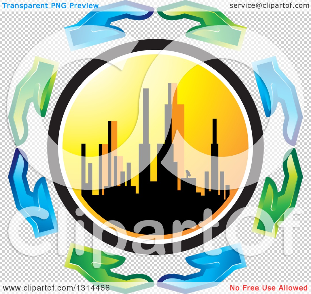 Clipart of a Circle of Blue and Green Eco Hands Around a.