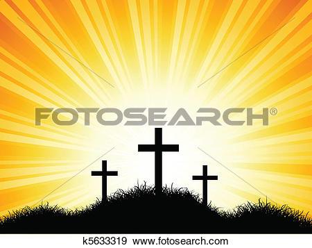 Clip Art of Crosses against sunset sky k5633319.