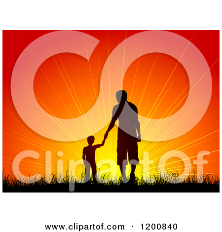 Clipart of a Silhouetted Father and Son by a Tree, Viewing a Wind.