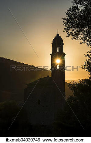 "Stock Images of ""Sun shining through a belfry, silhouette of a."