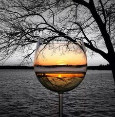 sunset through glass.