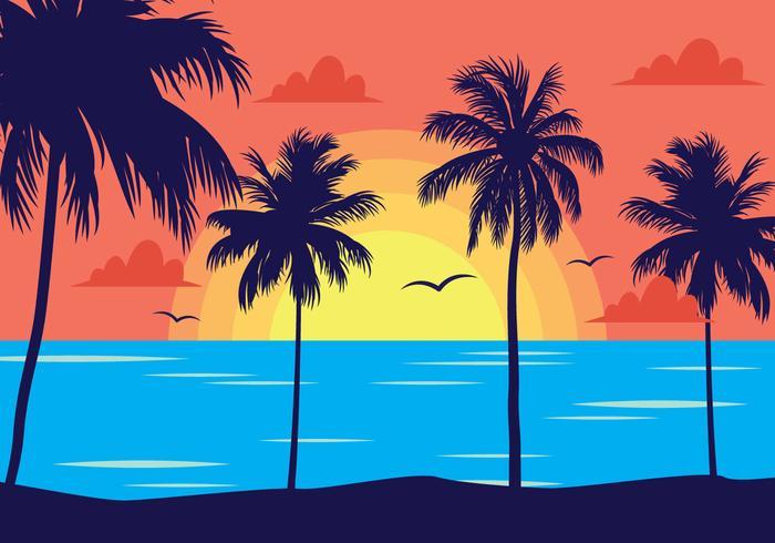 Tropical Sunset Landscape.