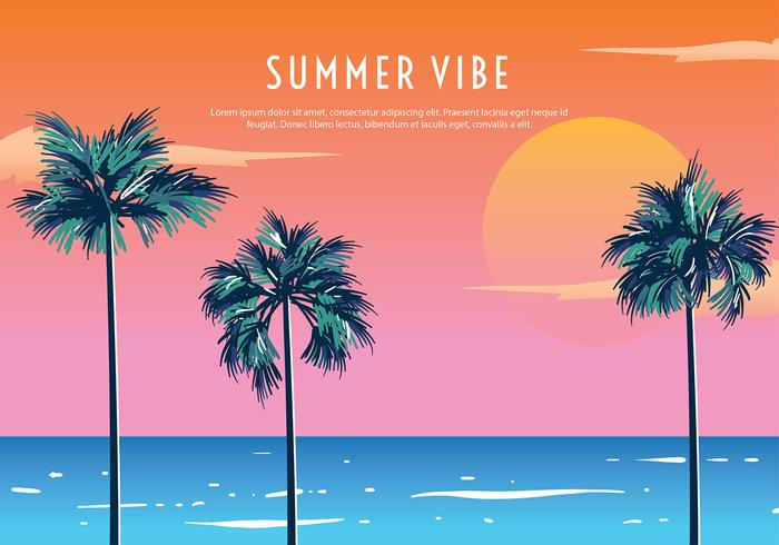 Palmetto Summer Sunset Free Vector.
