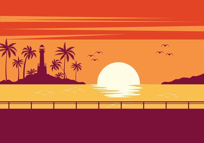 Playa Sunset Vector.