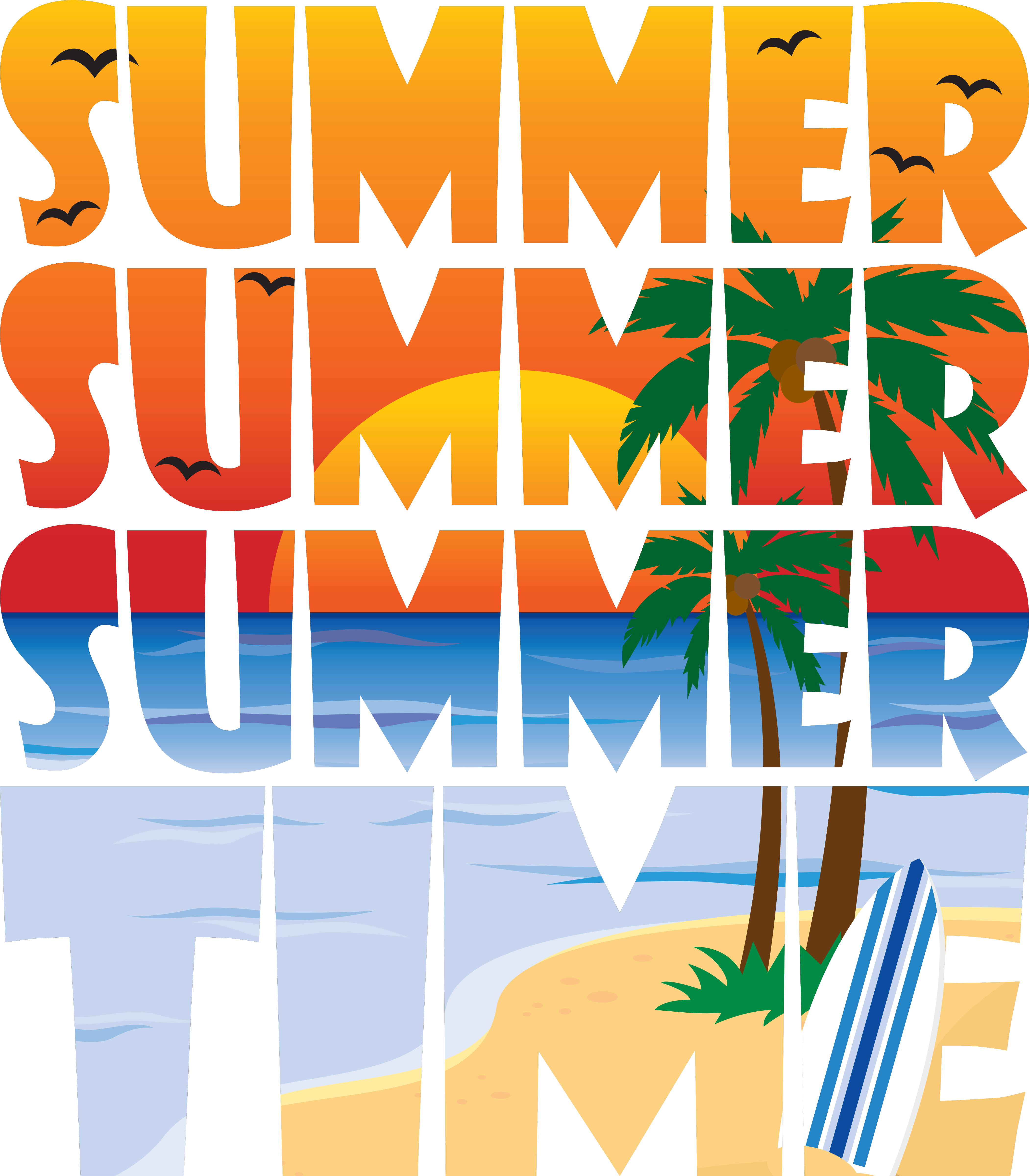SUMMER SUMMER TIME! design. Illustrated graphic design of a.
