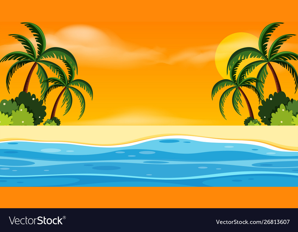 Landscape background design with seaside at sunset.