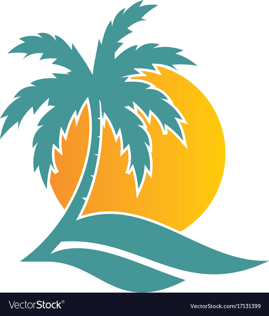 Palm tree sunset tropic logo.