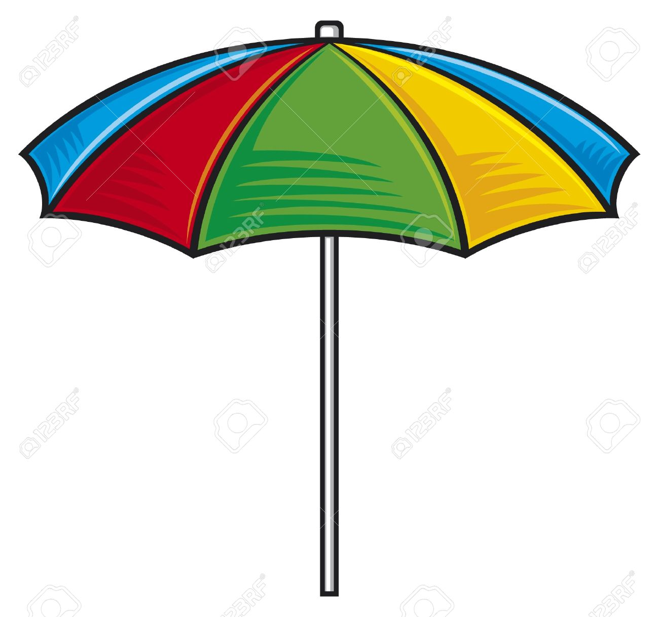 Illustration Of Colorful Beach Umbrella Royalty Free Cliparts.