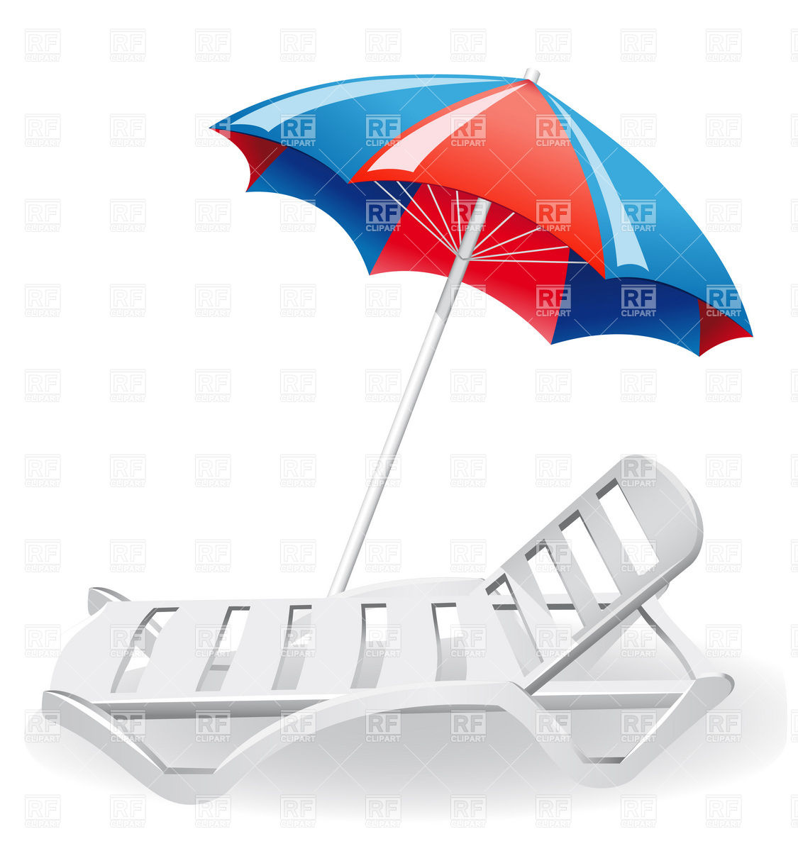 Beach sunshade and plastic deckchair Vector Image #19894.