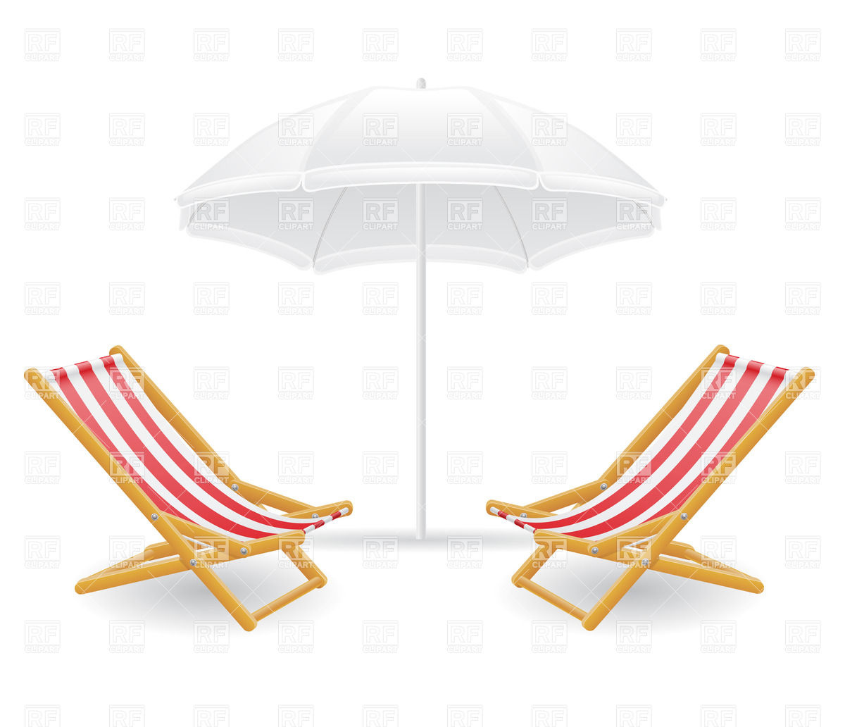 Striped beach chair (chaise longue) and sunshade Vector Image.