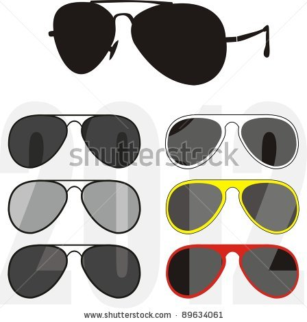 of a large variety of different framed sunglasses in a vector clip.