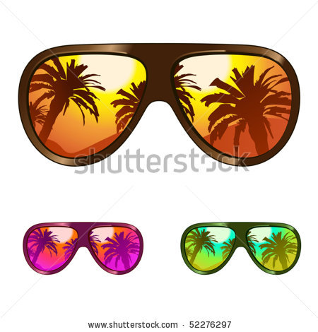 of a variety of sunglasses in a vector clip art illustration.