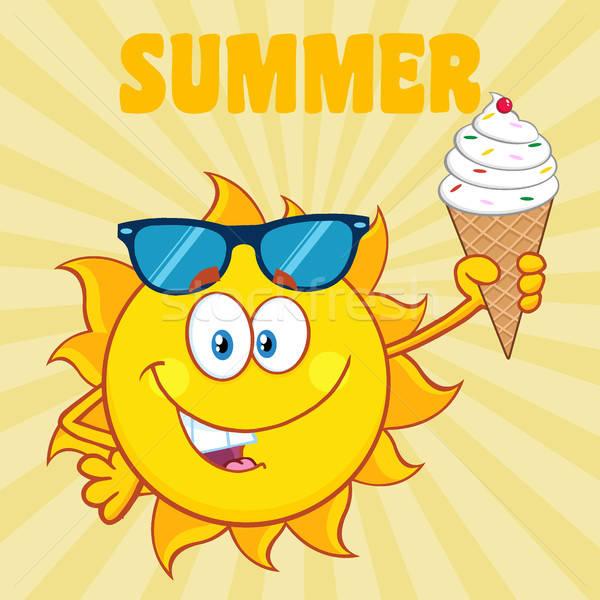 Cute Sun Cartoon Mascot Character With Sunglasses Holding A.