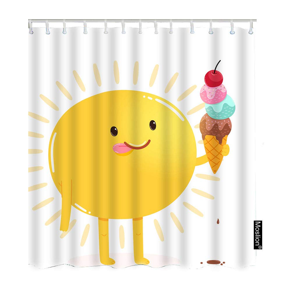 Amazon.com: Moslion Sun Shower Curtain Set Cute Smile.