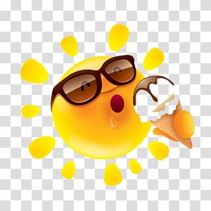 Emoji with shades , Perspiration Summer Sun Illustration.