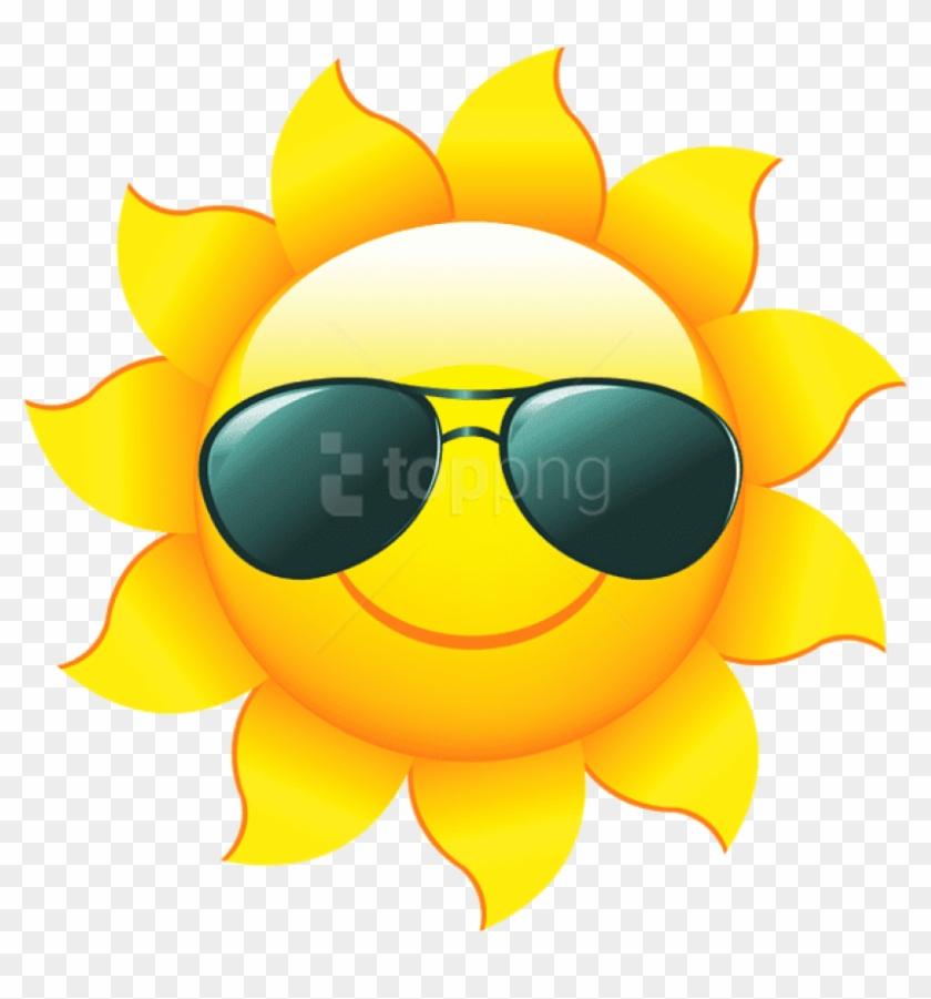 Transparent Sun Emoji With Shades.
