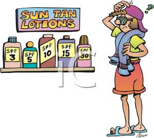Free Clipart Image: A Confused Woman Pciking Out Sun Tan Lotion.
