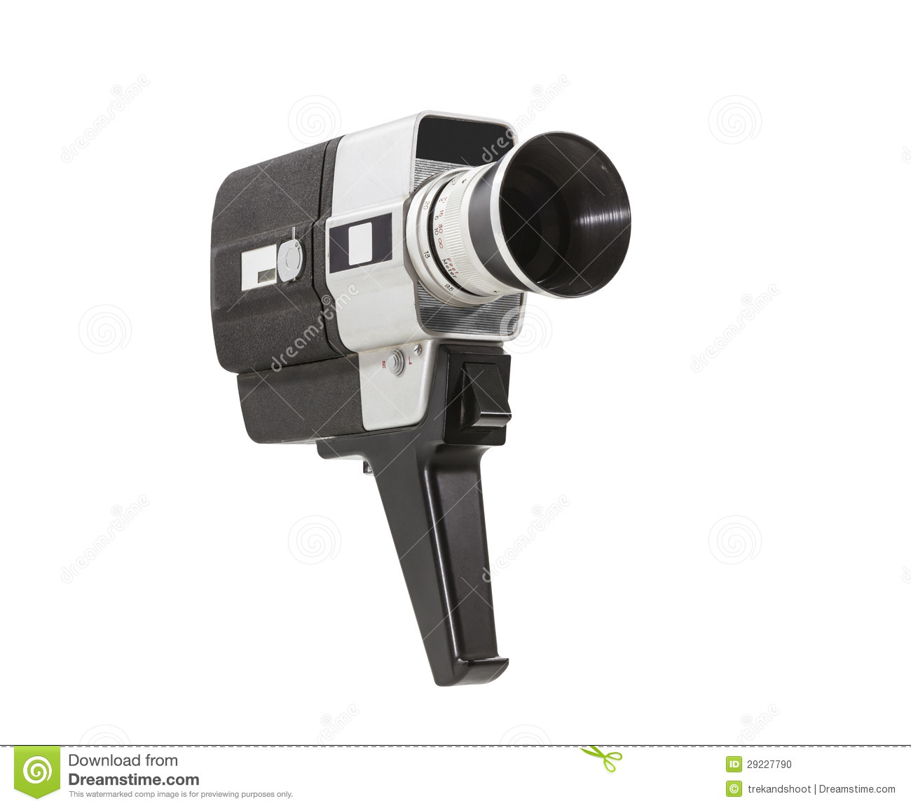 Vintage Super 8 Camera Isolated With Clipping Path Stock Photo.