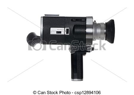 Stock Photography of Super 8 film camera isolated on white.
