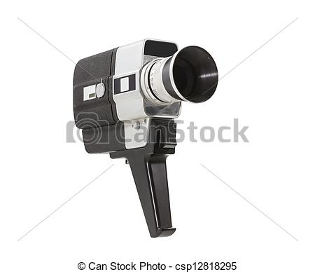 Stock Photographs of Vintage Super 8 Camera isolated.