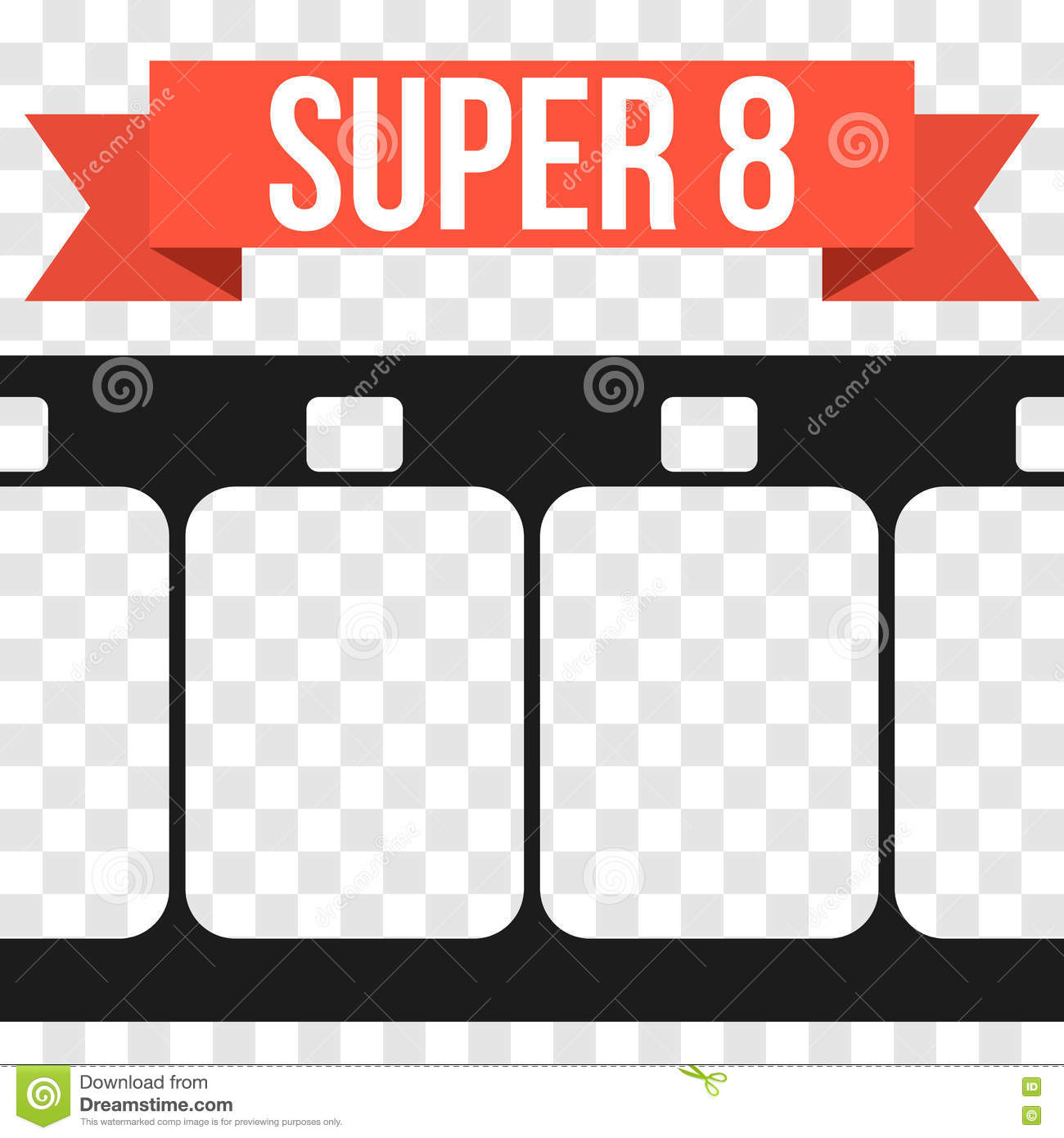 Vector Super 8 Film Strip Illustration On Transparent Stock Vector.