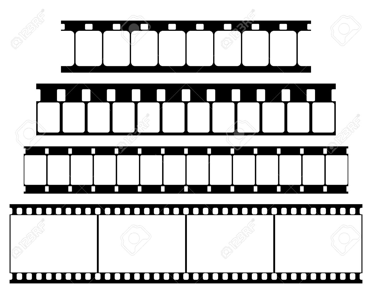Vector Film Strip Set Illustration On White Background. Abstract.