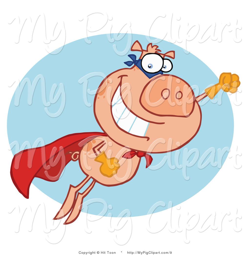 Vector Swine Clipart of a Super Pig Hero Pig in Flight by Hit Toon.