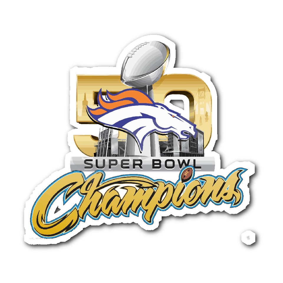 Denver Broncos SUPER BOWL 50 CHAMPIONS Decal/Sticker.