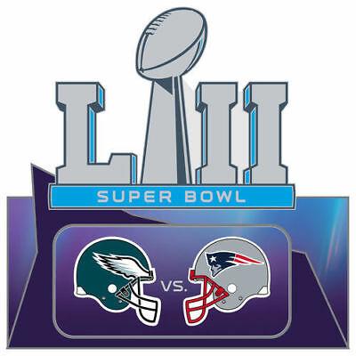 Super Bowl (52) LII NFL Patriots vs Eagles Duel Helmet Logo Collectors Pin  763264756891.