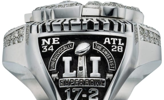 Patriots player\'s 2016 Super Bowl LI Championship Ring up.