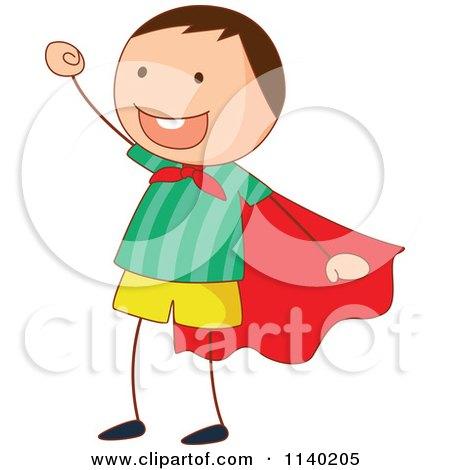 Cartoon Of A Cheering Super Boy.
