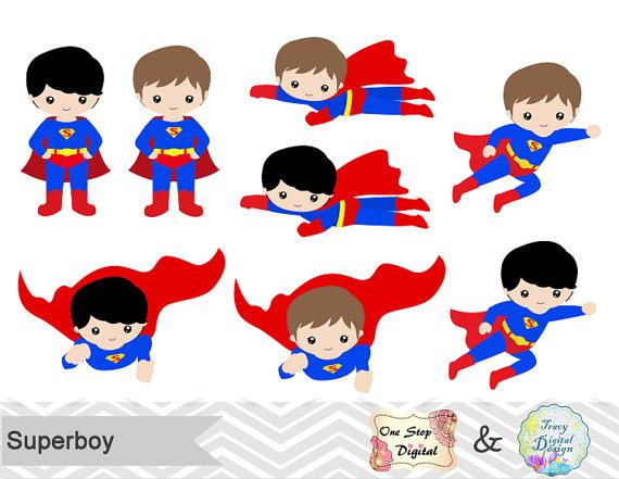 Instant Download Superhero Little Boy Digital Clip Art.